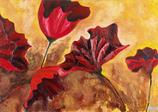Flowers Art Print featuring the painting Second Passion by Helene Lagoudakis