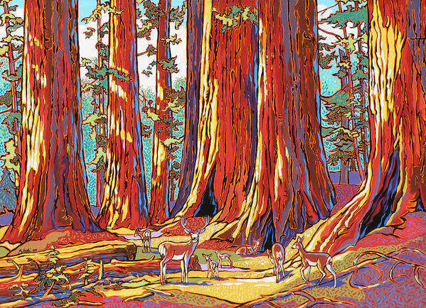 Sequoia Trees Print featuring the painting Sequoia Deer by Nadi Spencer