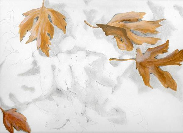 Leaves Art Print featuring the painting Shadows Of Fall by Caprice Scott