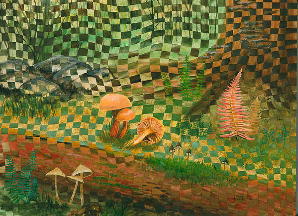 Mushrooms Art Print featuring the painting Shady Grove by Linda L Doucette