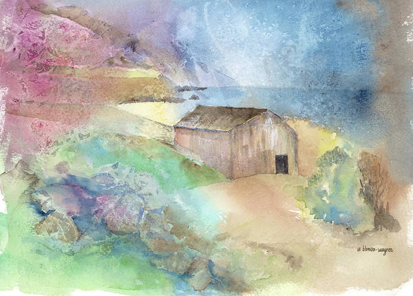 Shed Art Print featuring the painting Shed By A Lake In Ireland by Arline Wagner