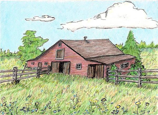 Landscape Art Print featuring the drawing Silent Sentinal by Patricia R Moore
