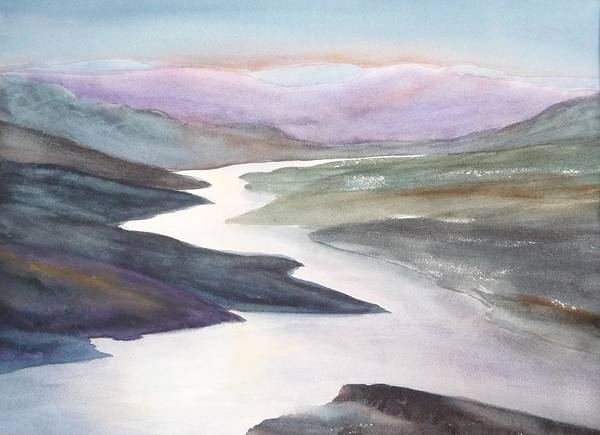 River Art Print featuring the painting Silver Stream by Ruth Kamenev