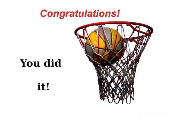 Basketball Art Print featuring the photograph Slam Dunk Congratulations Greeting Card by Yali Shi