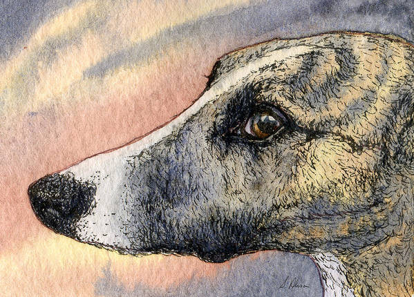 Whippet Art Print featuring the painting Sleek by Susan Alison