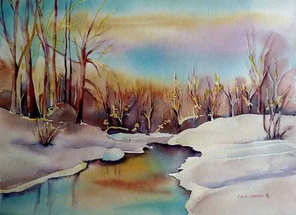 Winterscene Art Print featuring the painting Snowfall by Carole Spandau