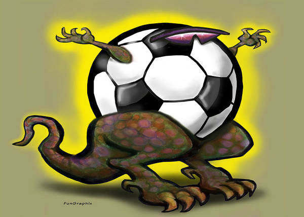 Soccer Art Print featuring the digital art Soccer Saurus Rex by Kevin Middleton