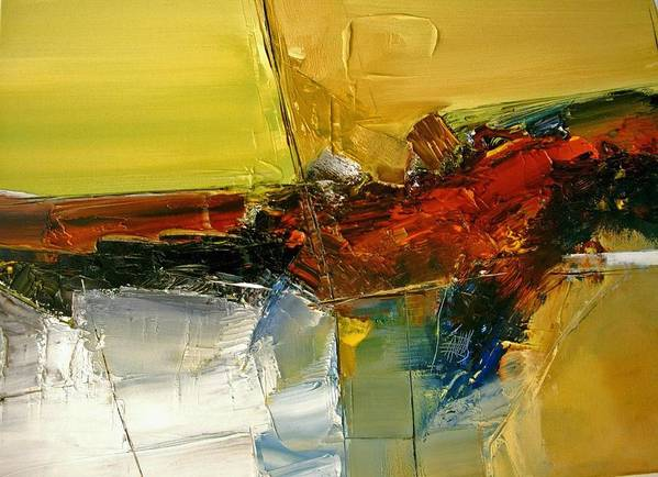 Abstract Art Print featuring the painting Something Always Lies Beneath Or Above by Stefan Fiedorowicz