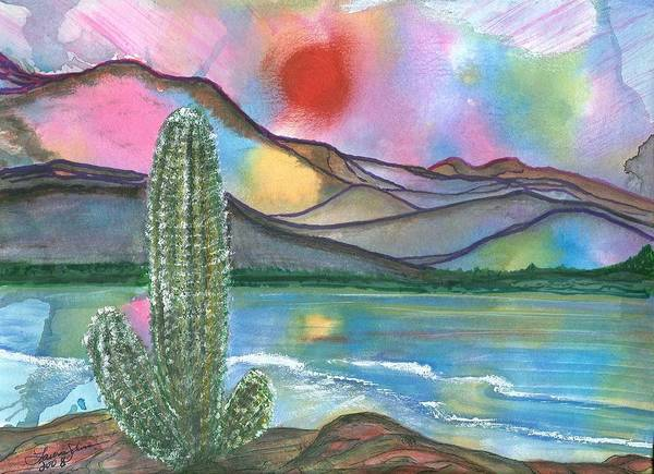 Sunset Art Print featuring the painting Somewhere South by Laura Johnson