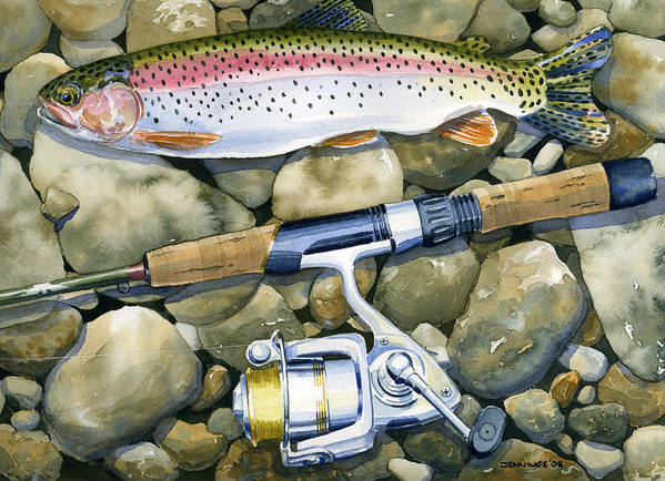 Fish Art Print featuring the painting Spin Trout by Mark Jennings