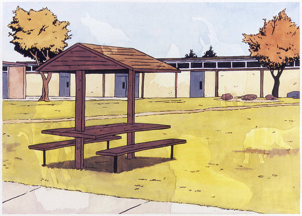 Karl Art Print featuring the painting Sticker Landscape 1 Schoolyard by Karl Frey
