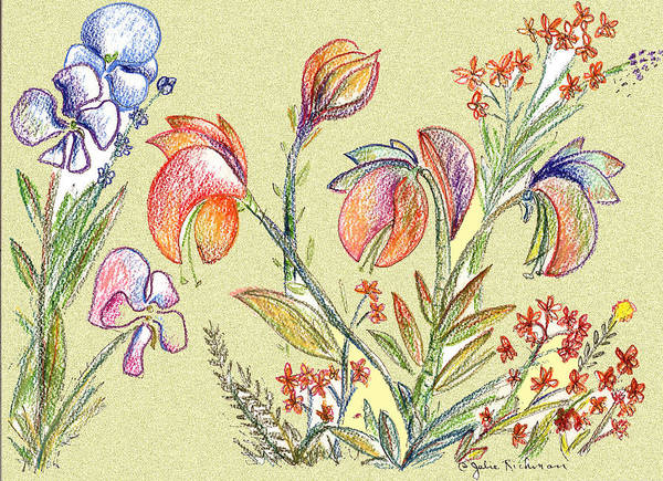Orchids Art Print featuring the digital art Strange Orchid Drawing by Julie Richman