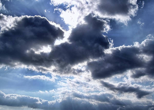 Clouds Print featuring the photograph Sun Breaking Through The Clouds by Mariola Bitner