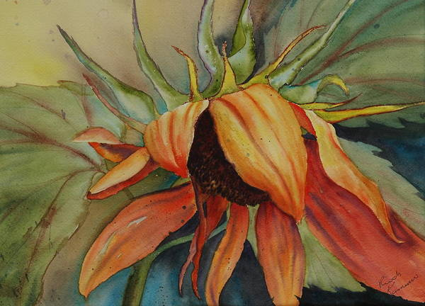 Sunflower Art Print featuring the painting Sunflower by Ruth Kamenev