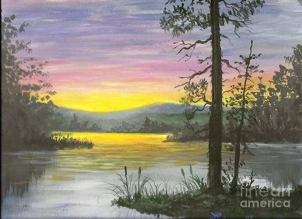 Sunrise Art Print featuring the painting Sunrise Lake by Don Lindemann