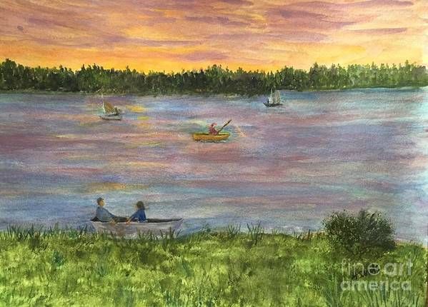 Amesbury Art Print featuring the painting Sunset On The Merrimac River by Anne Sands