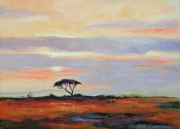 Landscape Art Print featuring the painting Sunset On The Serengheti by Ginger Concepcion