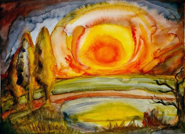 Stockmar Watercolors Art Print featuring the painting Sunset by Stephen Hawks