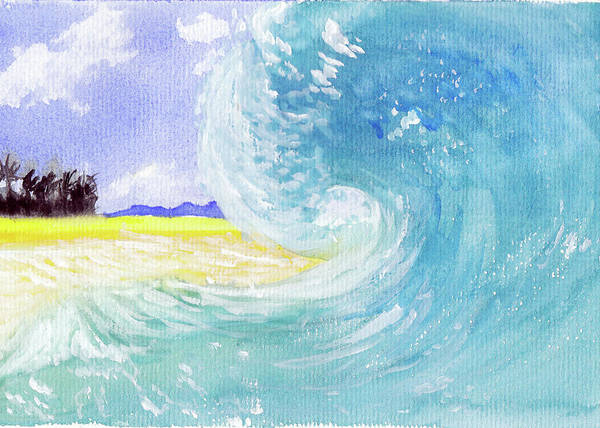 Seascape Art Print featuring the painting Surfing Time by Xiao Zeng