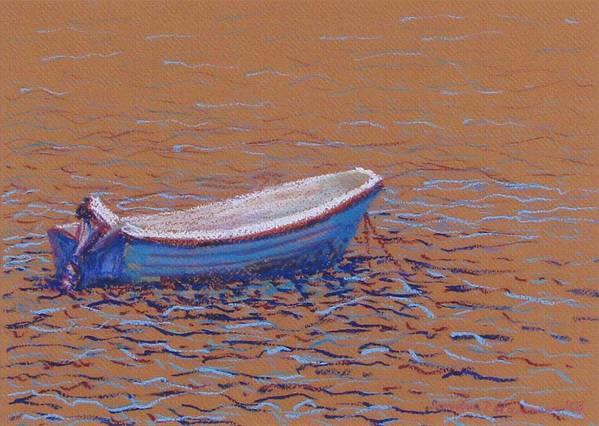Boat Art Print featuring the pastel Swedish Boat by Art Nomad Sandra Hansen