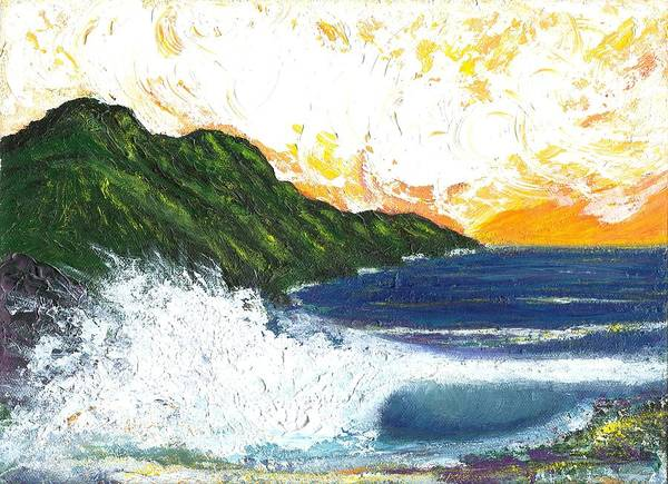 Seascape Art Print featuring the painting Swept Away by Laura Johnson