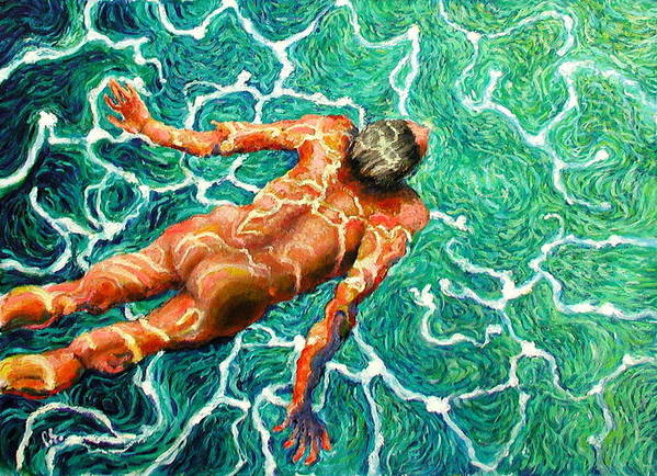 Man Art Print featuring the painting Swimmer by Paul Sierra