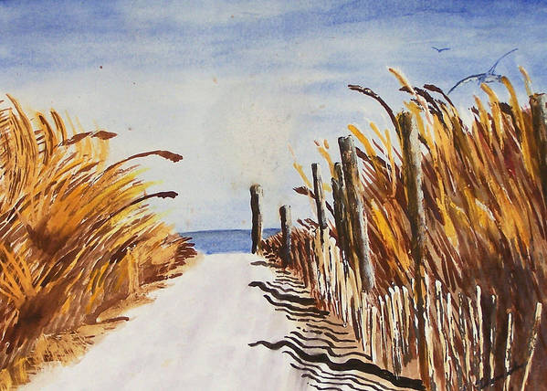 Beach Art Print featuring the painting Tall Grass With Drift Fence by Robert Thomaston