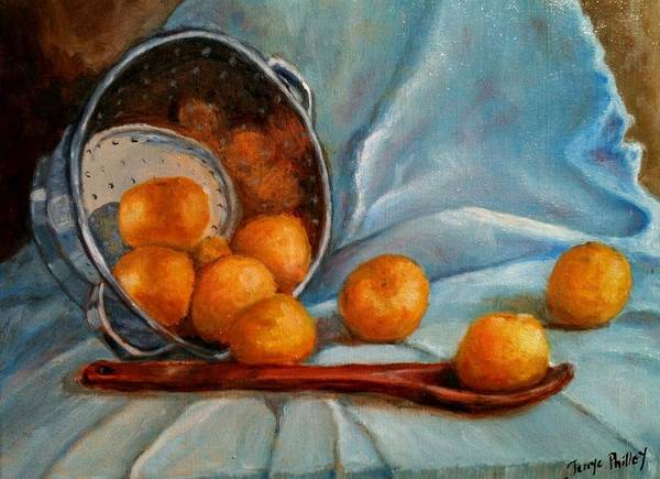 Still Life Print featuring the painting Tangerine Family Portrait by Terrye Philley