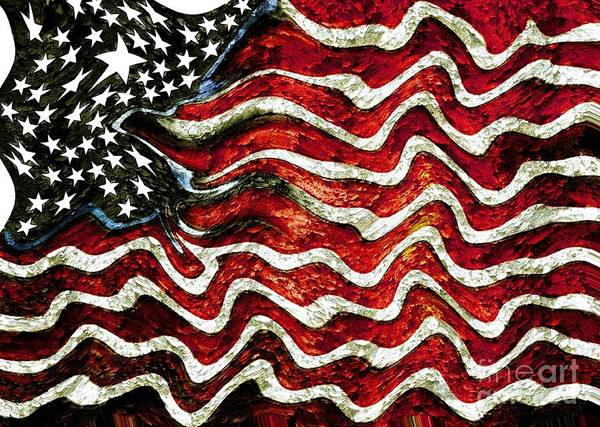 Patriot Print featuring the mixed media The American Flag by Mimo Krouzian