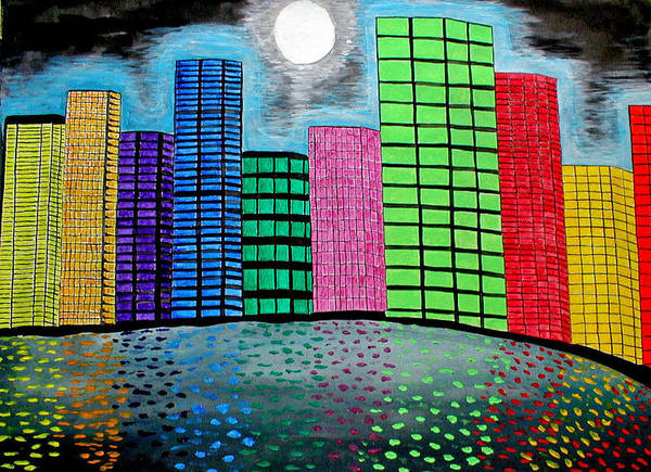 City Art Print featuring the painting The Bright Lights by Sandy Wager
