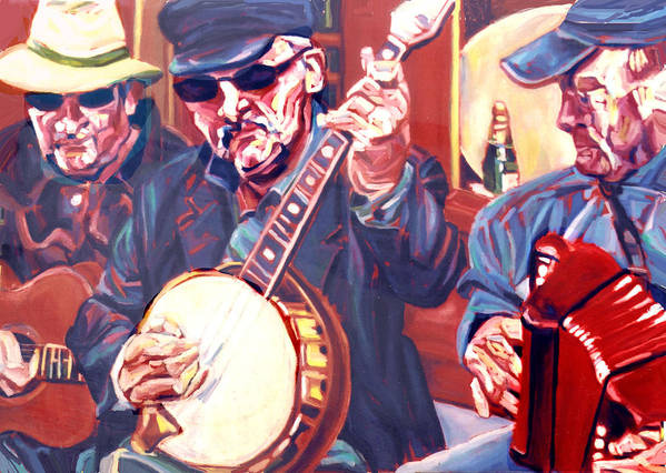 Buskers Art Print featuring the painting The Buskers by Ellen Lefrak