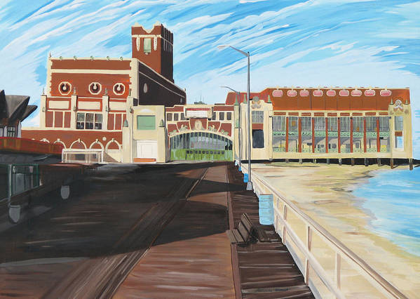 Asbury Art Art Print featuring the painting The Convention Hall Asbury Park by Patricia Arroyo