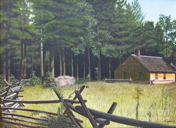 Landscape Art Print featuring the painting The District School House by Donald Hofer