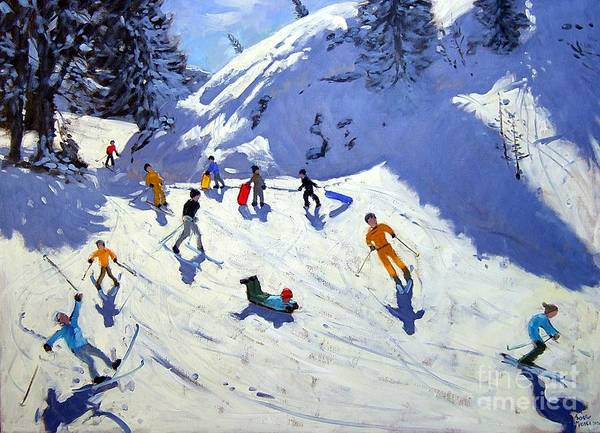 Sledging Art Print featuring the painting The Gully by Andrew Macara