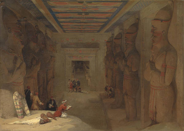 David Roberts Art Print featuring the painting The Hypostyle Hall Of The Great Temple At Abu Simbel Egypt by David Roberts
