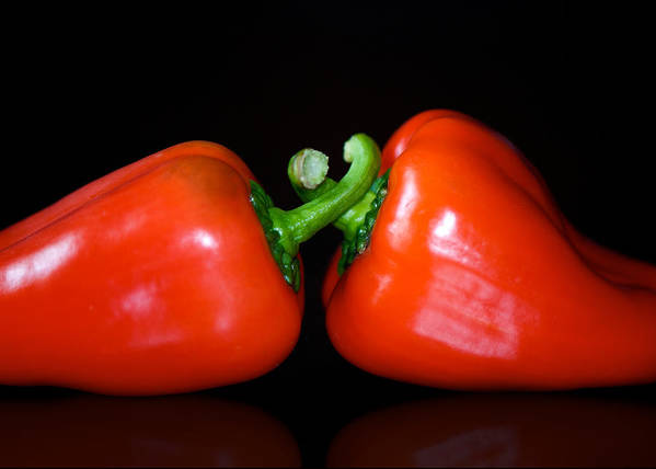 Peppers Art Print featuring the photograph the Kiss by Lisa Knechtel