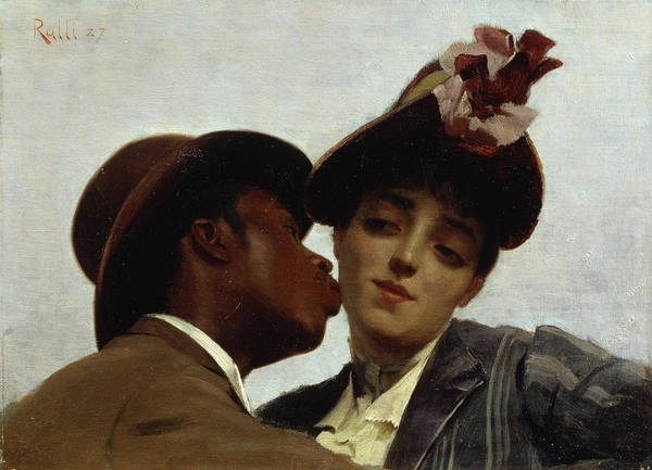 The Art Print featuring the painting The Kiss by Theodore Jacques Ralli