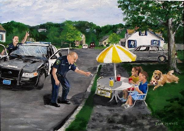 Police Art Print featuring the painting The Lemonade Stand by Jack Skinner