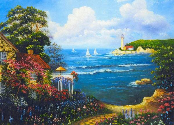 Lighthouse Art Print featuring the digital art The Light House By The Sea by Jeanene Stein