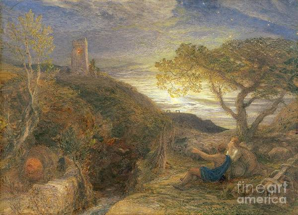 The Art Print featuring the painting The Lonely Tower by Samuel Palmer