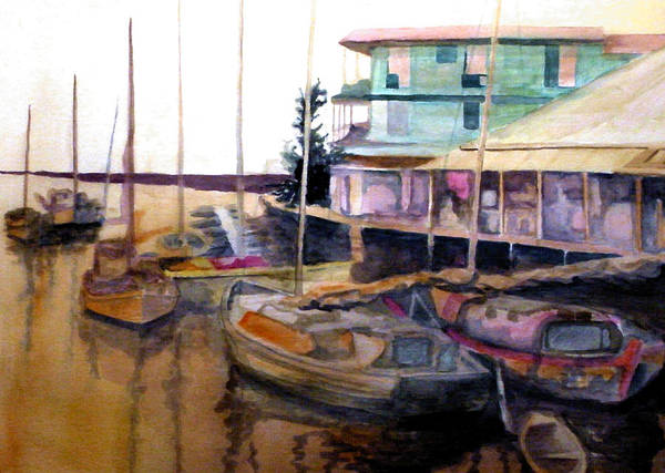 Marina Art Print featuring the painting The Marina by Jim Phillips