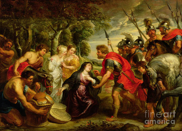 Dtr140303 Print featuring the photograph The Meeting Of David And Abigail by Peter Paul Rubens