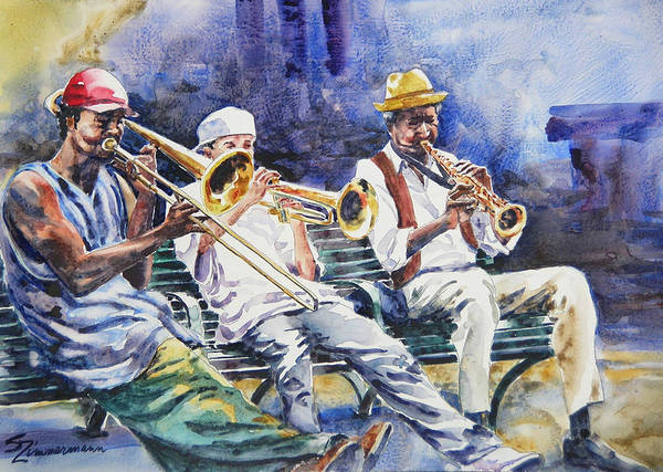 Dixieland Jazz Art Print featuring the painting The Mentor by Sue Zimmermann