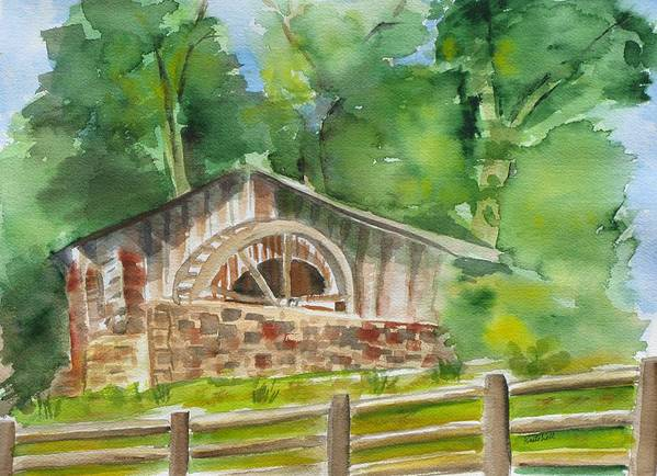 Landscape Art Print featuring the painting The Old Mill by Kathy Mitchell