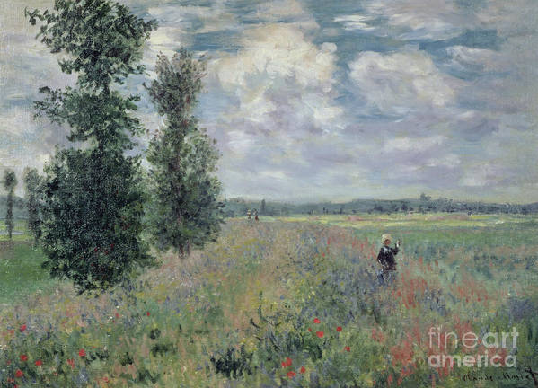 The Print featuring the painting The Poppy Field by Claude Monet
