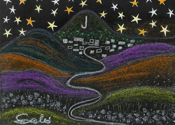 Stars Art Print featuring the drawing The Road To Jerome 89a Az by Ingrid Szabo