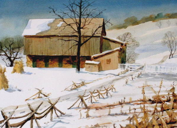 Winter Art Print featuring the painting The Stein Barn by Faye Ziegler