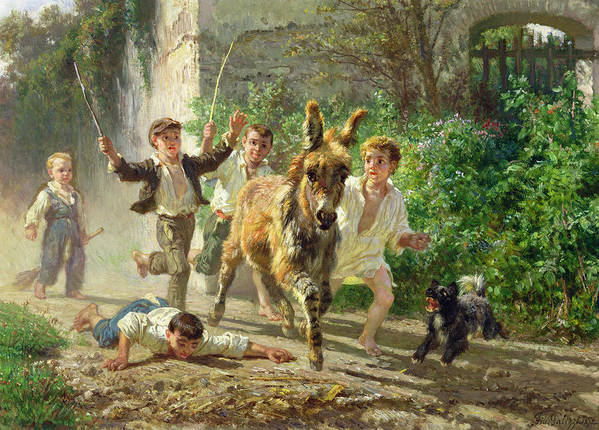Donkey Art Print featuring the painting The Street Urchins by F Palizzi