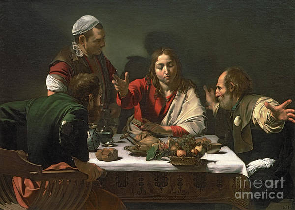The Art Print featuring the painting The Supper At Emmaus by Caravaggio