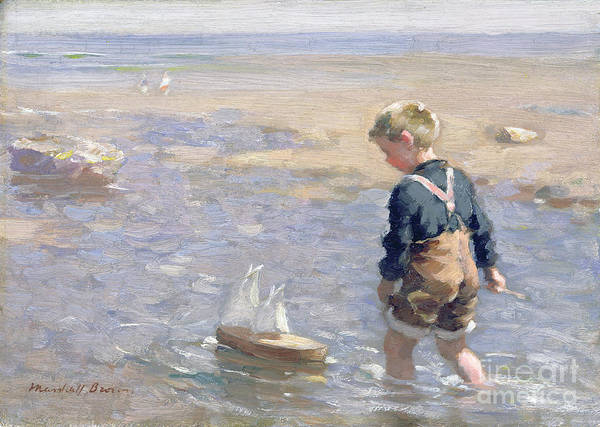 Boy; Child; Sea; Paddling; Beach; Sail Art Print featuring the painting The Toy Boat by William Marshall Brown